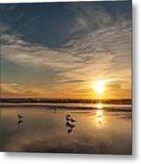 Cannon Beach Sunset Tidal Flats Metal Print