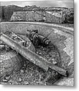 Cannon Remains From Ww2 Bw Metal Print