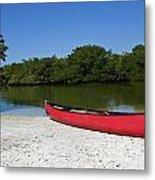 Canoe And Beach Metal Print