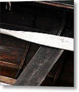 Canoe And Oar Metal Print