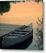 Canoe At A Dock At Sunset Metal Print by Jill Battaglia