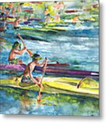 Canoe Race In Polynesia Metal Print