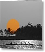 Canoe Ride In The Sunset Metal Print
