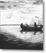 Canoe Silhouette Metal Print by Lawrence Tripoli