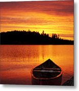 Canoe Sunset Metal Print