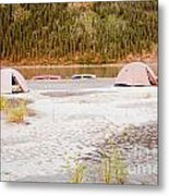 Canoe Tent Camp At Yukon River In Taiga Wilderness Metal Print