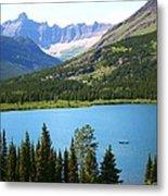 Canoeing At Glacier Metal Print