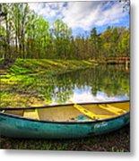 Canoeing At The Lake Metal Print
