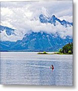 Canoeing In Colter Bay In Grand Teton National Park-wyoming Metal Print
