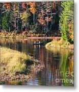 Canoeing In The Fall Metal Print