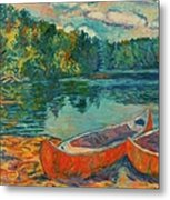 Canoes At Mountain Lake Metal Print