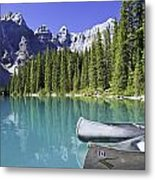 Canoes In Moraine Lake And Valley Of Metal Print