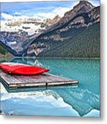 Canoes Of Lake Louise Alberta Canada Metal Print