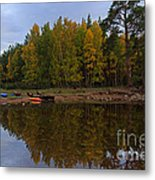 Canoes On The Shore At Loch An Eilein Metal Print