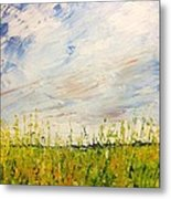 Canola Field In Abstract Metal Print