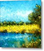 Canola Fields Impressionist Landscape Painting Metal Print