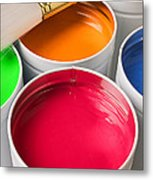 Cans Of Colored Paint Metal Print