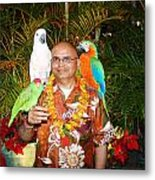 Can't Get Brighter Than This  Artist Navinjoshi In Hawaii Travel Vacations With Trained Parrots By P Metal Print