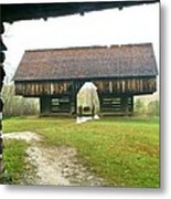Cantilever Barn In Smokey Mtn Natl Pk Metal Print