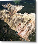 Canyon And Yellowstone Falls Metal Print