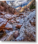 Canyon Stream Winterized Metal Print