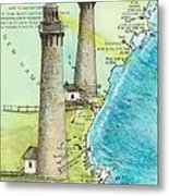 Cape Ann Twin Lighthouses Ma Nautical Chart Map Art Cathy Peek Metal Print