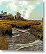 Cape Cod Americana - Low Tide In A Barnstable Village Marsh -  Metal Print