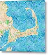 Cape Cod Watercolor Map Metal Print
