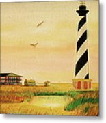 Cape Hatteras Light At Sunset Metal Print