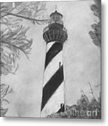 Cape Hatteras Light Black And White Metal Print