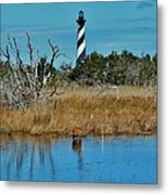 Cape Hatteras Lighthouse Deer In Pond 1 3/01 Metal Print