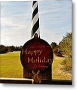 Cape Hatteras Lighthouse Happy Holiday 1 12/7 Metal Print