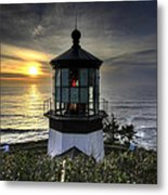 Cape Meares Lighthouse At Sunset Metal Print