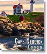 Cape Neddick Lighthouse  At Sunset  Metal Print