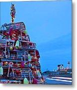 Cape Neddick Lighthouse Christmas Metal Print by Randy Duchaine