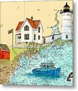 Cape Neddick Lighthouse Me Nautical Chart Map Art Cathy Peek Metal Print