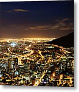 Cape Town, South Africa By Night Metal Print