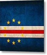 Cape Verde Flag Vintage Distressed Finish Metal Print