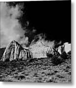 Capital Reef National Park In Black And White  Metal Print