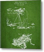 Capps Machine Gun Patent Drawing From 1899 - Green Metal Print