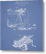 Capps Machine Gun Patent Drawing From 1899 - Light Blue Metal Print