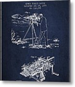 Capps Machine Gun Patent Drawing From 1899 - Navy Blue Metal Print
