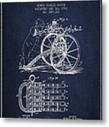 Capps Machine Gun Patent Drawing From 1902 - Navy Blue Metal Print