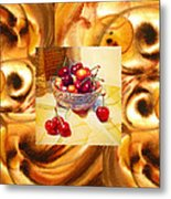 Cappuccino Abstract Collage Cherries Metal Print