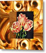 Cappuccino Abstract Collage French Roses Metal Print