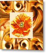 Cappuccino Abstract Collage Poppy Metal Print