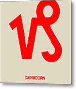 Capricorn Zodiac Sign Red Metal Print