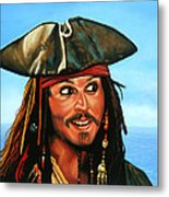 Captain Jack Sparrow Painting Metal Print