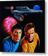Captain Kirk And Mr. Spock Metal Print by Robert Steen