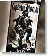 Captain Morgan Black And White Metal Print